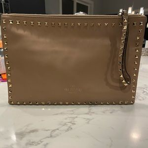 Valentino Light Brown and Gold Rockstud Clutch